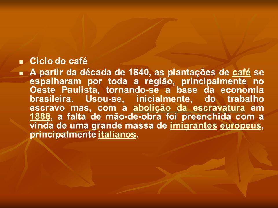 Ciclo do café A partir da década de 1840, as plantações de café se espalharam por toda a região, principalmente no Oeste Paulista, tornando-se a base