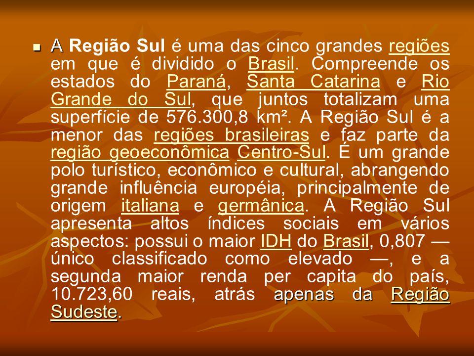 A apenas da Região Sudeste. A Região Sul é uma das cinco grandes regiões em que é dividido o Brasil. Compreende os estados do Paraná, Santa Catarina e