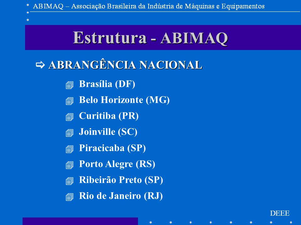 DEEE Estrutura - ABIMAQ ABRANGÊNCIA NACIONAL  ABRANGÊNCIA NACIONAL  Brasília (DF)  Belo Horizonte (MG)  Curitiba (PR)  Joinville (SC)  Piracicaba (SP)  Porto Alegre (RS)  Ribeirão Preto (SP)  Rio de Janeiro (RJ)