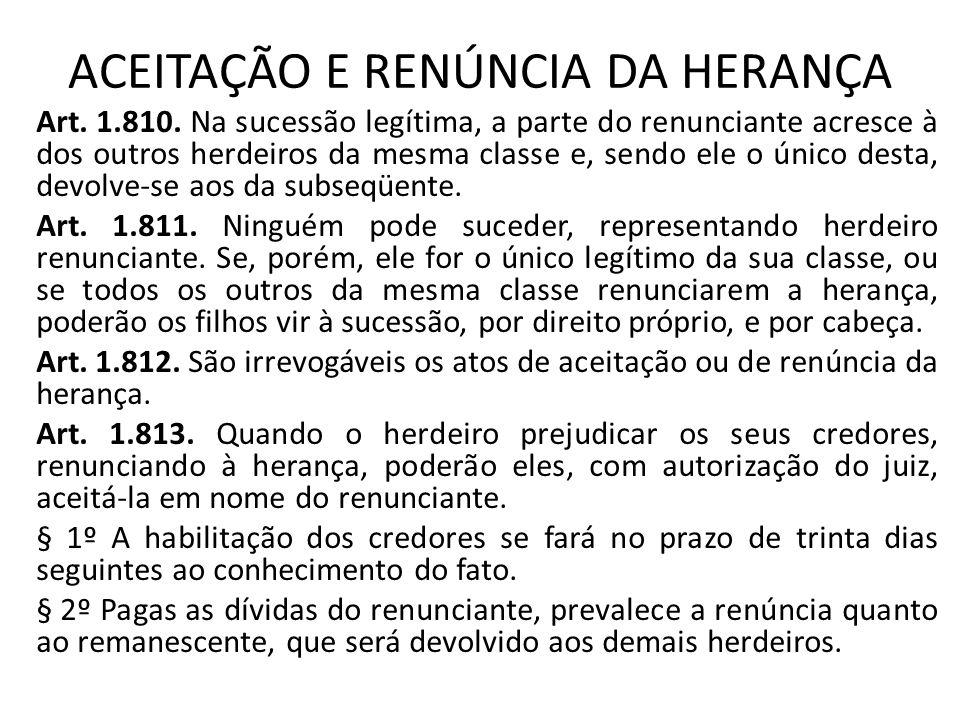 ACEITAÇÃO E RENÚNCIA DA HERANÇA Art.1.810.
