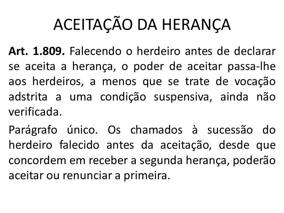 ACEITAÇÃO DA HERANÇA Art.1.809.