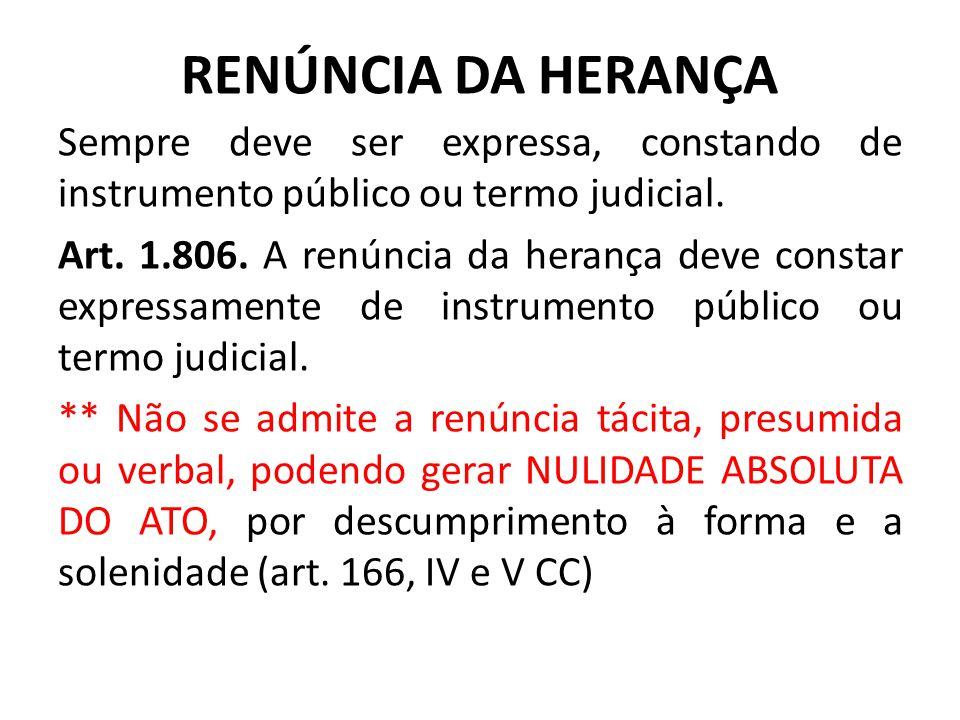 RENÚNCIA DA HERANÇA Sempre deve ser expressa, constando de instrumento público ou termo judicial.