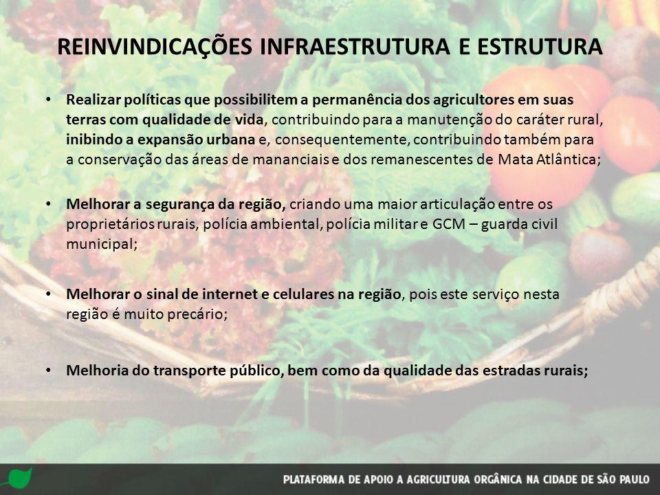 REINVINDICAÇÕES INFRAESTRUTURA E ESTRUTURA Realizar políticas que possibilitem a permanência dos agricultores em suas terras com qualidade de vida, co