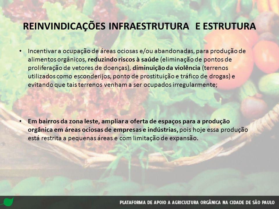 Incentivar a ocupação de áreas ociosas e/ou abandonadas, para produção de alimentos orgânicos, reduzindo riscos à saúde (eliminação de pontos de proli