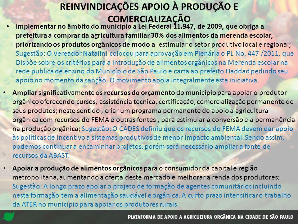 REINVINDICAÇÕES APOIO À PRODUÇÃO E COMERCIALIZAÇÃO Implementar no âmbito do município a Lei Federal 11.947, de 2009, que obriga a prefeitura a comprar