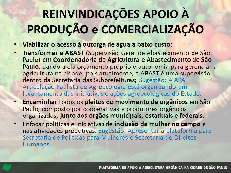 REINVINDICAÇÕES EDUCAÇÃO, COMUNICAÇÃO E CONTROLE SOCIAL Criação de um Conselho Municipal de Agricultura Orgânica .