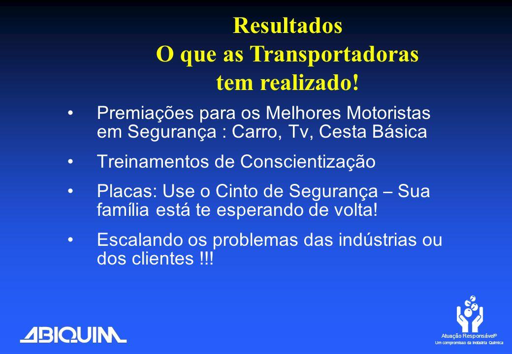 Atuação Responsável ® Um compromisso da Indústria Química Observações na Estrada (Desde 2002 até Jun 2006)