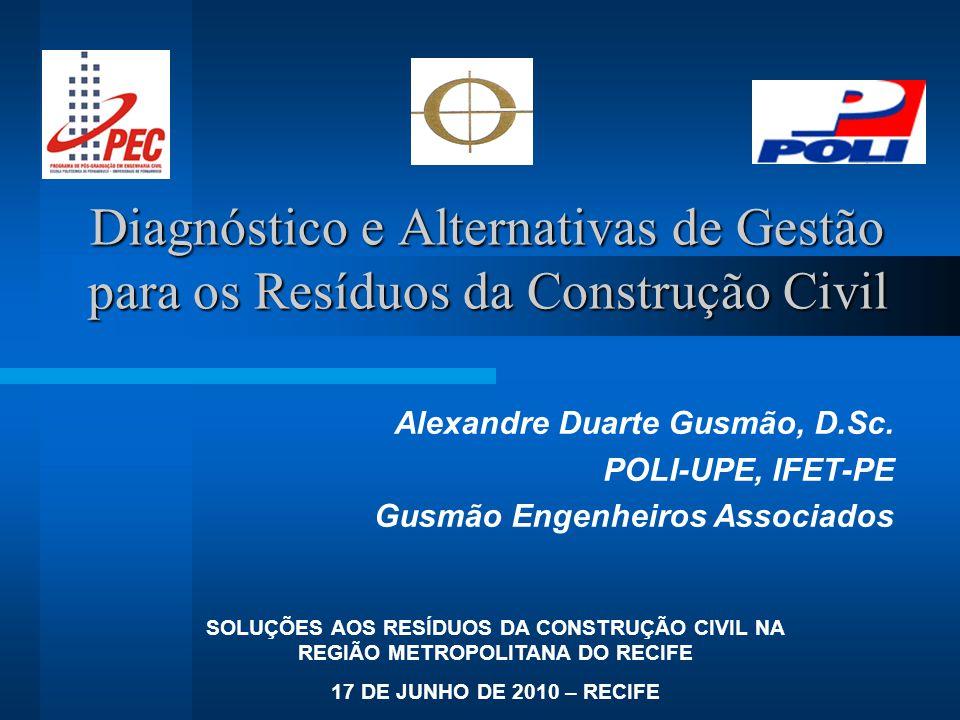 Diagnóstico e Alternativas de Gestão para os Resíduos da Construção Civil Alexandre Duarte Gusmão, D.Sc. POLI-UPE, IFET-PE Gusmão Engenheiros Associad