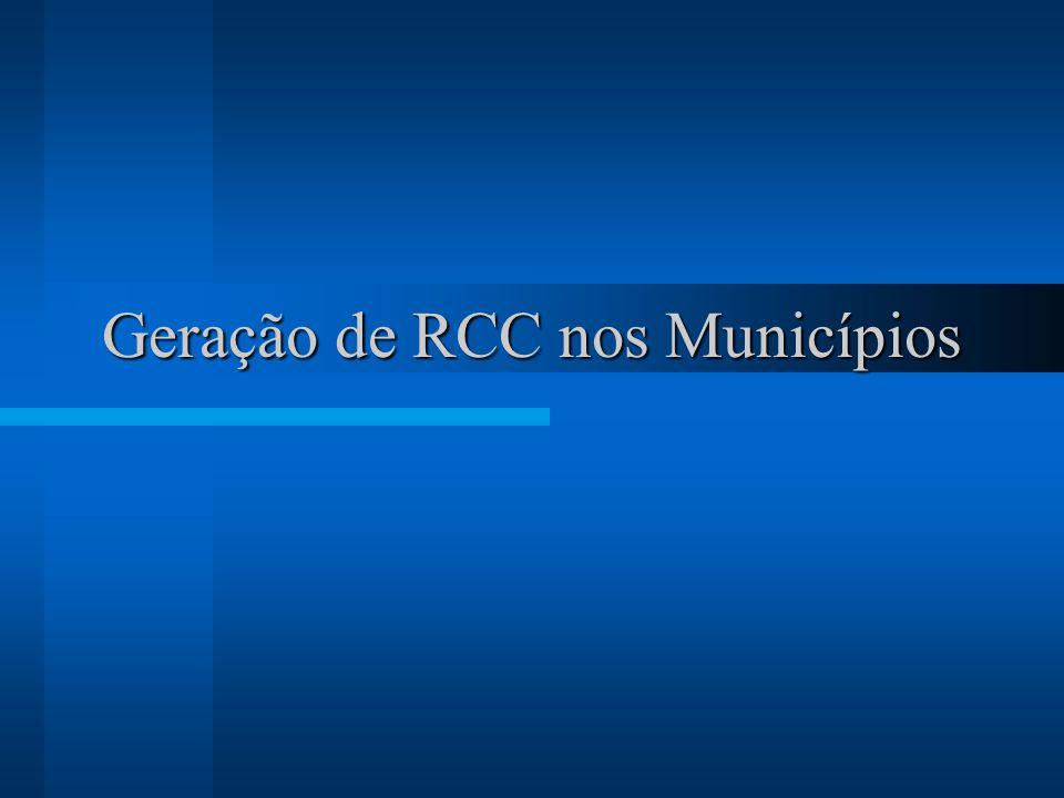 Geração de RCC nos Municípios