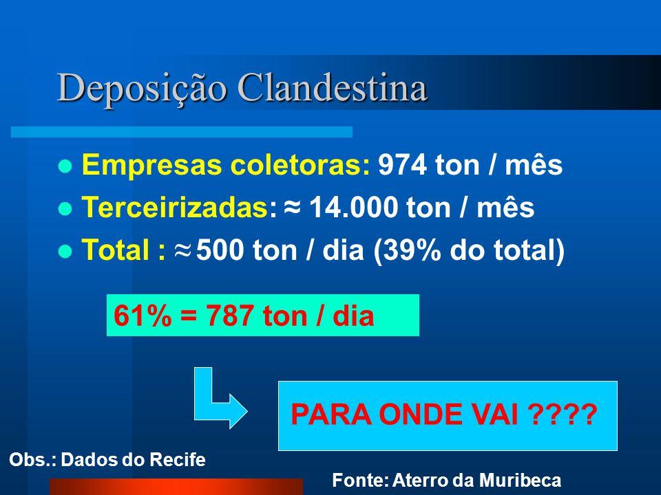 Deposição Clandestina Empresas coletoras: 974 ton / mês Terceirizadas: ≈ 14.000 ton / mês Total : ≈ 500 ton / dia (39% do total) PARA ONDE VAI ???? 61