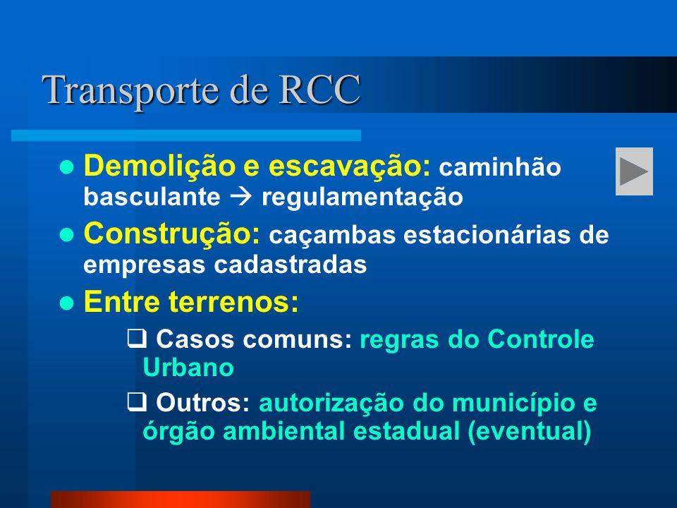 Demolição e escavação: caminhão basculante  regulamentação Construção: caçambas estacionárias de empresas cadastradas Entre terrenos:  Casos comuns: