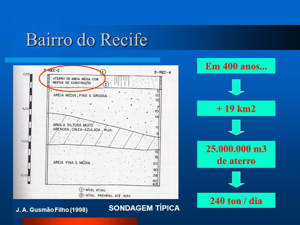 Bairro do Recife SONDAGEM TÍPICA J. A. Gusmão Filho (1998) Em 400 anos... 25.000.000 m3 de aterro + 19 km2 240 ton / dia