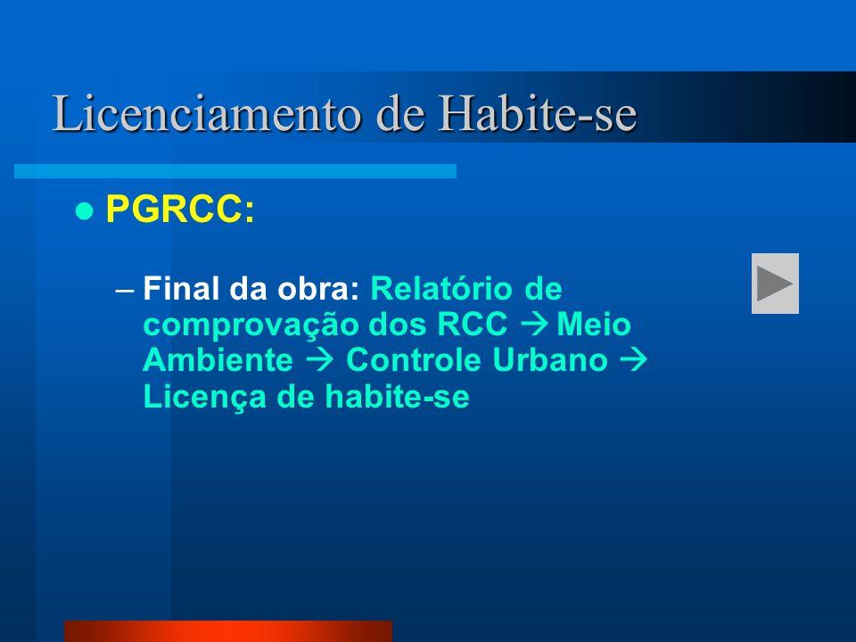 PGRCC: –Final da obra: Relatório de comprovação dos RCC  Meio Ambiente  Controle Urbano  Licença de habite-se Licenciamento de Habite-se