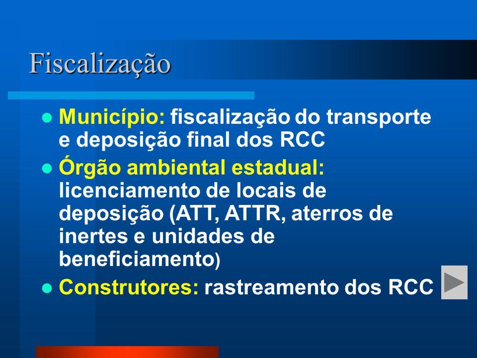 Município: fiscalização do transporte e deposição final dos RCC Órgão ambiental estadual: licenciamento de locais de deposição (ATT, ATTR, aterros de