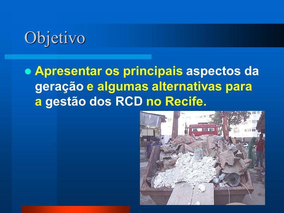 Objetivo Apresentar os principais aspectos da geração e algumas alternativas para a gestão dos RCD no Recife.