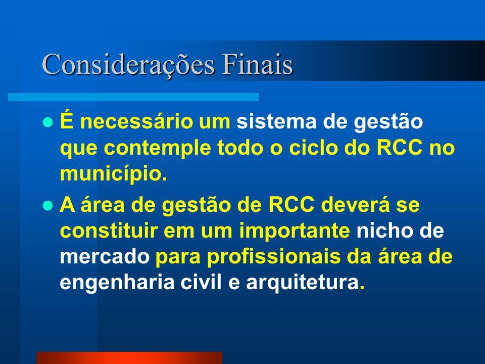 É necessário um sistema de gestão que contemple todo o ciclo do RCC no município. A área de gestão de RCC deverá se constituir em um importante nicho