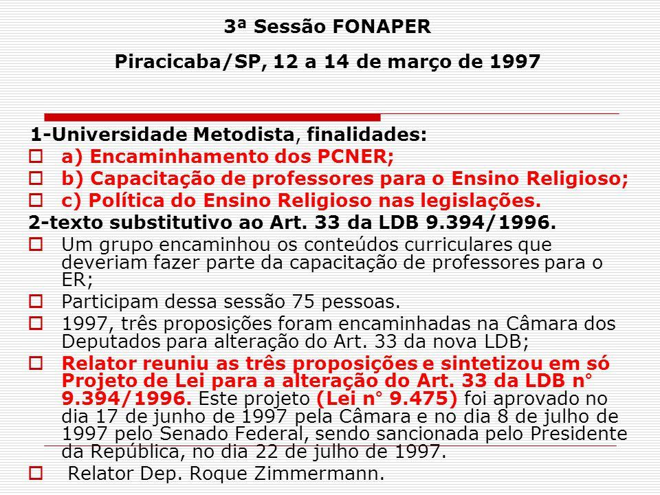 3ª Sessão FONAPER Piracicaba/SP, 12 a 14 de março de 1997 1-Universidade Metodista, finalidades:  a) Encaminhamento dos PCNER;  b) Capacitação de pr
