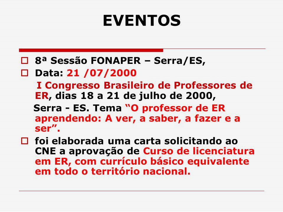 EVENTOS  8ª Sessão FONAPER – Serra/ES,  Data: 21 /07/2000 I Congresso Brasileiro de Professores de ER, dias 18 a 21 de julho de 2000, Serra - ES. Te