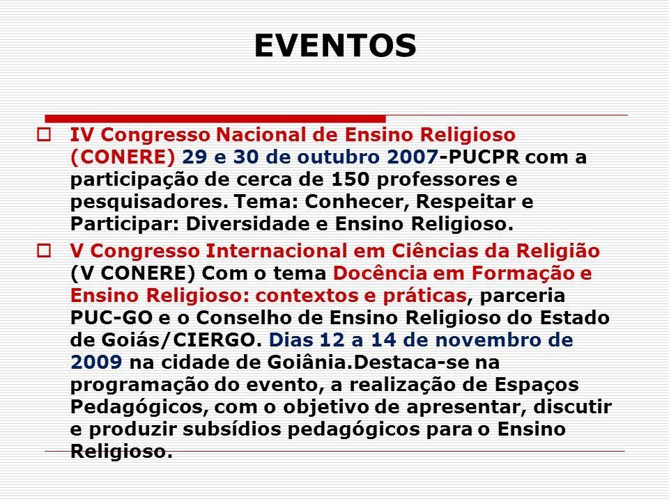 EVENTOS  IV Congresso Nacional de Ensino Religioso (CONERE) 29 e 30 de outubro 2007-PUCPR com a participação de cerca de 150 professores e pesquisado