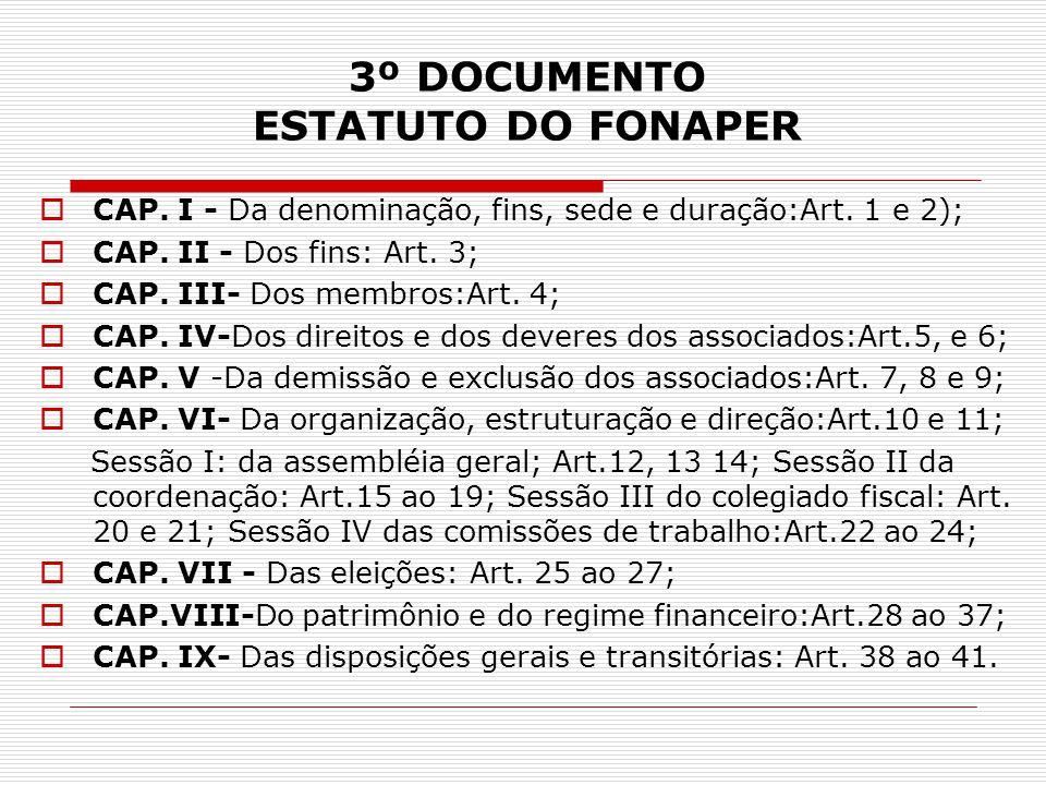 3º DOCUMENTO ESTATUTO DO FONAPER  CAP. I - Da denominação, fins, sede e duração:Art. 1 e 2);  CAP. II - Dos fins: Art. 3;  CAP. III- Dos membros:Ar