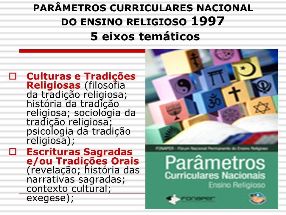 PARÂMETROS CURRICULARES NACIONAL DO ENSINO RELIGIOSO 1997 5 eixos temáticos  Culturas e Tradições Religiosas (filosofia da tradição religiosa; histór