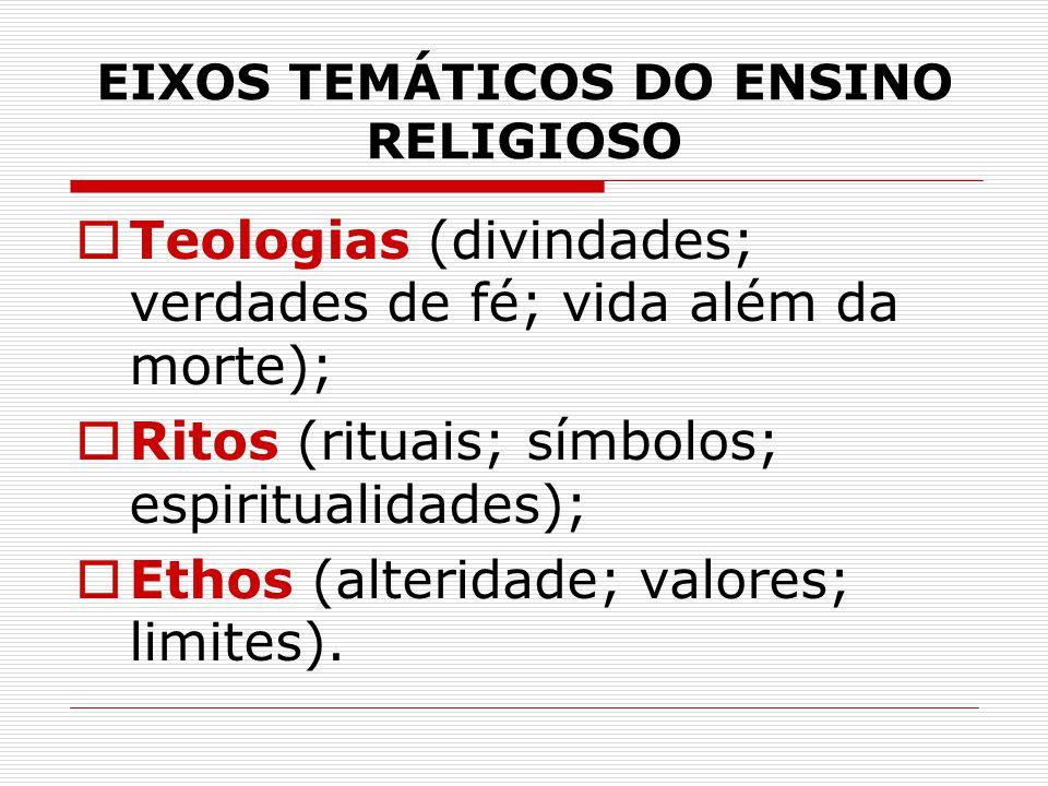 EIXOS TEMÁTICOS DO ENSINO RELIGIOSO  Teologias (divindades; verdades de fé; vida além da morte);  Ritos (rituais; símbolos; espiritualidades);  Eth