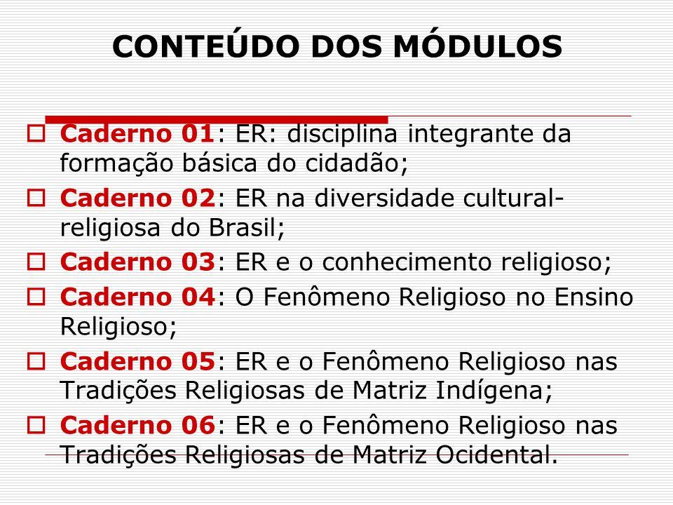 CONTEÚDO DOS MÓDULOS  Caderno 01: ER: disciplina integrante da formação básica do cidadão;  Caderno 02: ER na diversidade cultural- religiosa do Bra