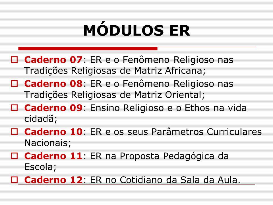 MÓDULOS ER  Caderno 07: ER e o Fenômeno Religioso nas Tradições Religiosas de Matriz Africana;  Caderno 08: ER e o Fenômeno Religioso nas Tradições