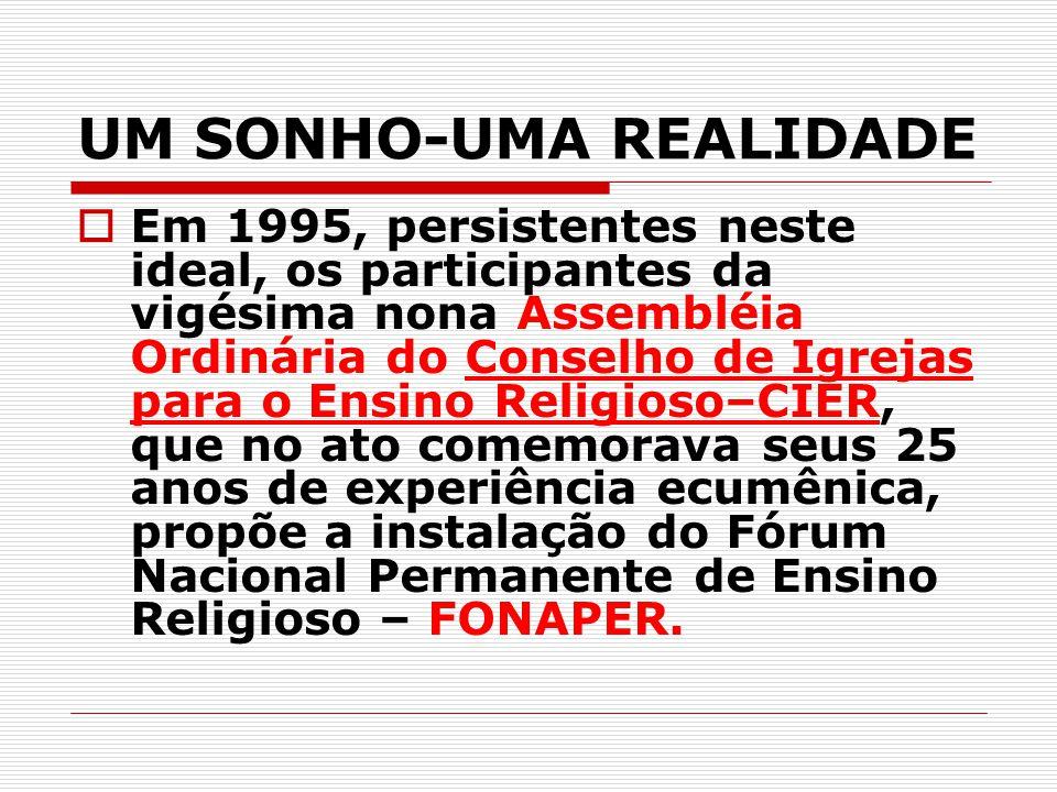 UM SONHO-UMA REALIDADE  Em 1995, persistentes neste ideal, os participantes da vigésima nona Assembléia Ordinária do Conselho de Igrejas para o Ensin