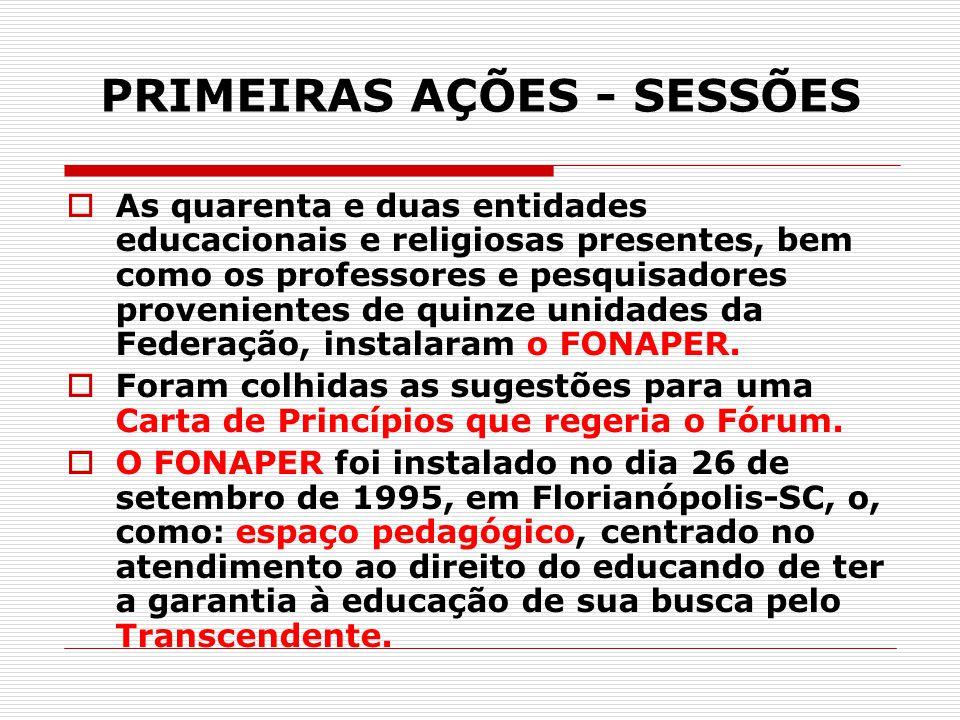 PRIMEIRAS AÇÕES - SESSÕES  As quarenta e duas entidades educacionais e religiosas presentes, bem como os professores e pesquisadores provenientes de
