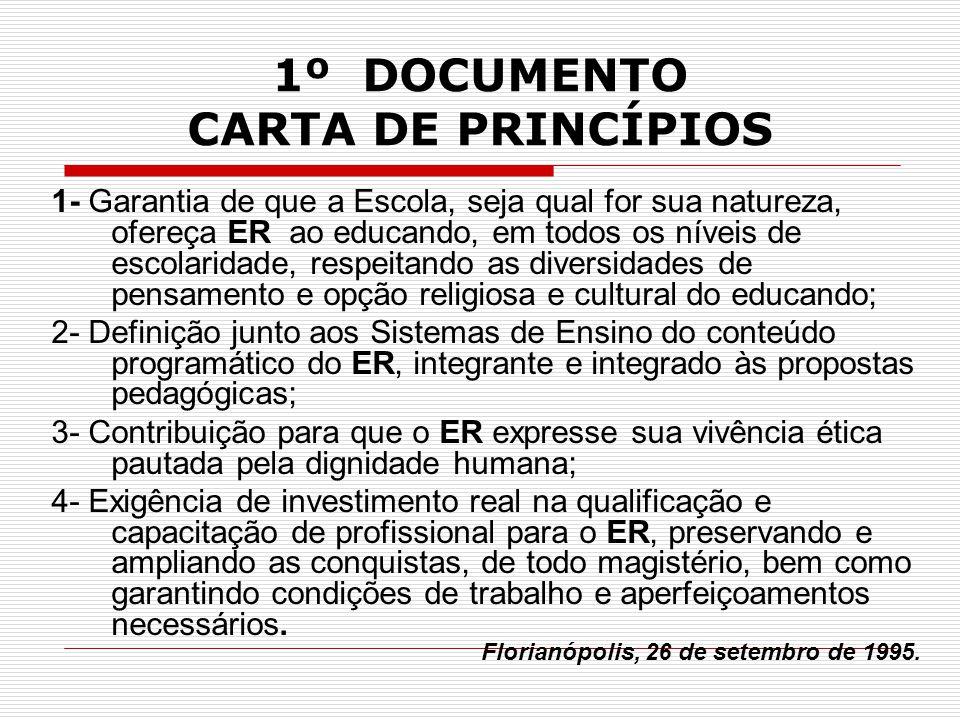 1º DOCUMENTO CARTA DE PRINCÍPIOS 1- Garantia de que a Escola, seja qual for sua natureza, ofereça ER ao educando, em todos os níveis de escolaridade,