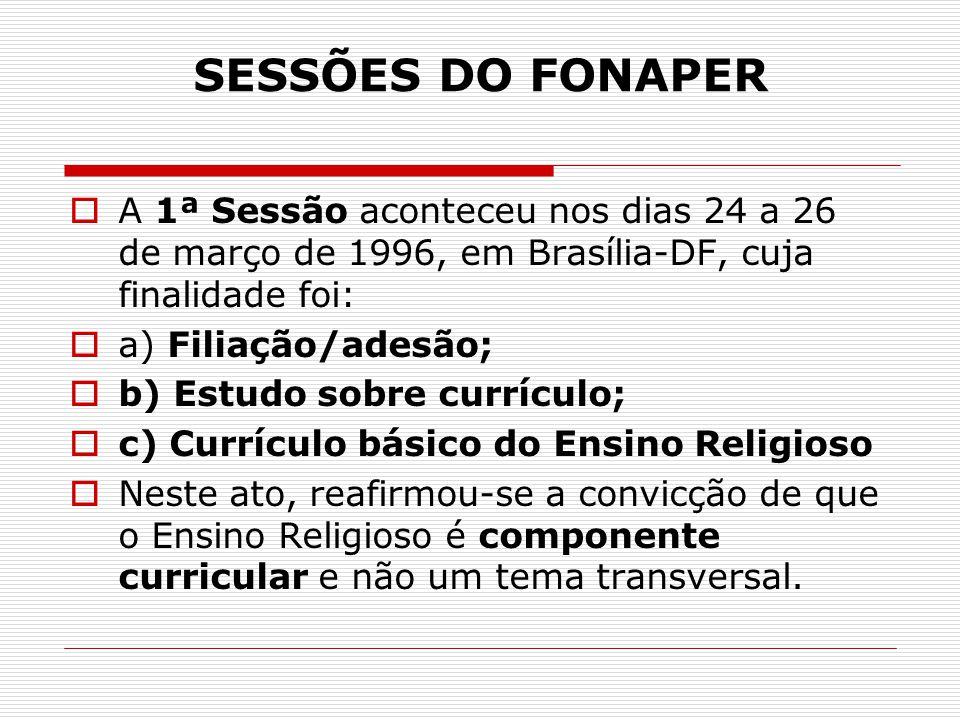 SESSÕES DO FONAPER  A 1ª Sessão aconteceu nos dias 24 a 26 de março de 1996, em Brasília-DF, cuja finalidade foi:  a) Filiação/adesão;  b) Estudo s