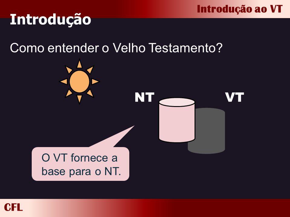 CFL Introdução ao VT Introdução Como entender o Velho Testamento? VTNT O VT fornece a base para o NT.