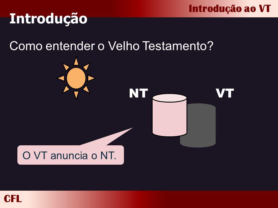 CFL Introdução ao VT Introdução Como entender o Velho Testamento? VTNT O VT anuncia o NT.