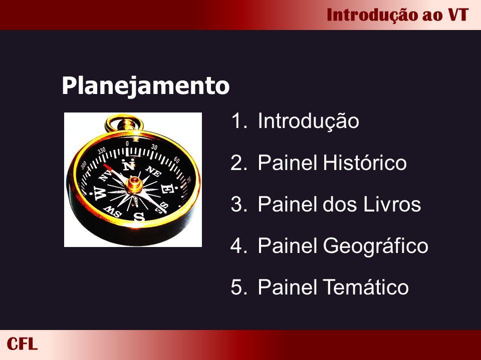 CFL Introdução ao VT Planejamento 1.Introdução 2.Painel Histórico 3.Painel dos Livros 4.Painel Geográfico 5.Painel Temático