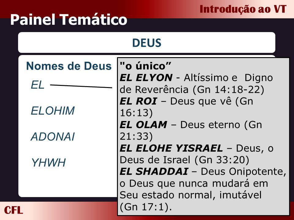 CFL Introdução ao VT Painel Temático DEUS Nomes de Deus EL ELOHIM ADONAI YHWH
