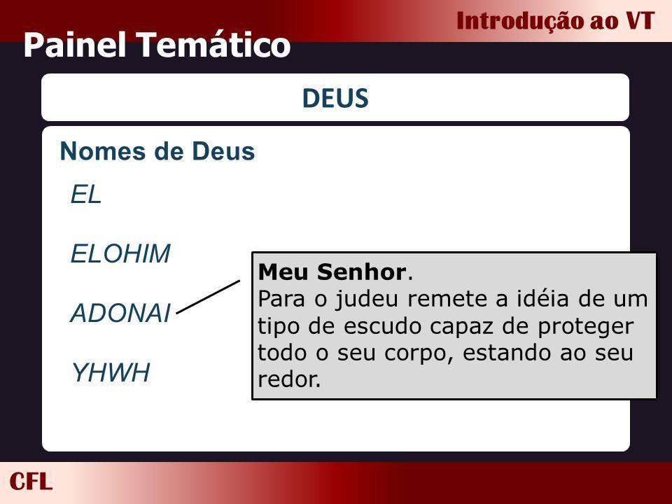 CFL Introdução ao VT Painel Temático DEUS EL ELOHIM ADONAI YHWH Meu Senhor. Para o judeu remete a idéia de um tipo de escudo capaz de proteger todo o