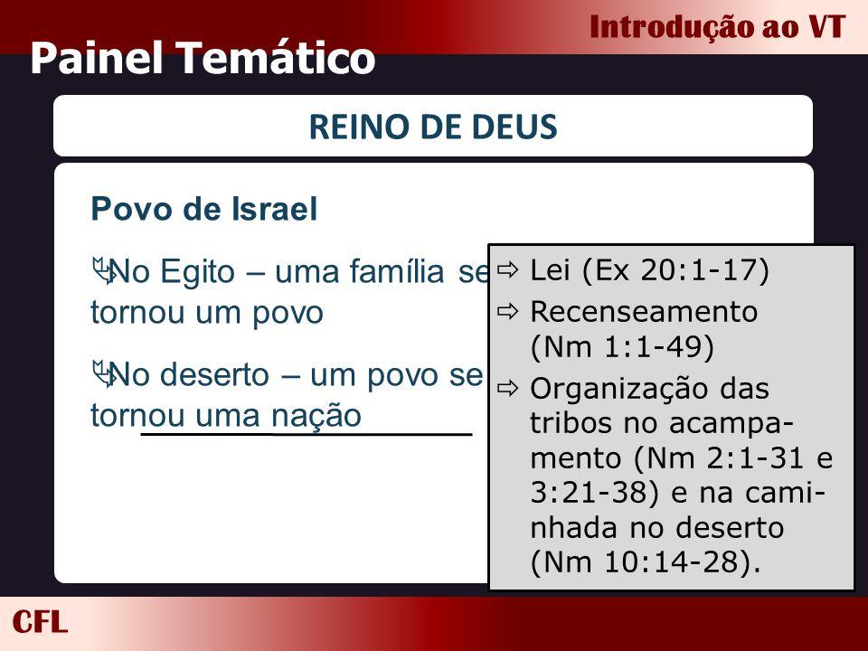 CFL Introdução ao VT Painel Temático REINO DE DEUS Povo de Israel  No Egito – uma família se tornou um povo  No deserto – um povo se tornou uma naçã