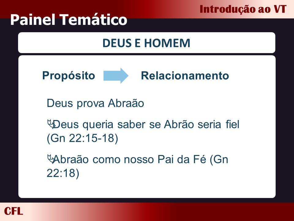 CFL Introdução ao VT Painel Temático DEUS E HOMEM Propósito Relacionamento Deus prova Abraão  Deus queria saber se Abrão seria fiel (Gn 22:15-18)  A