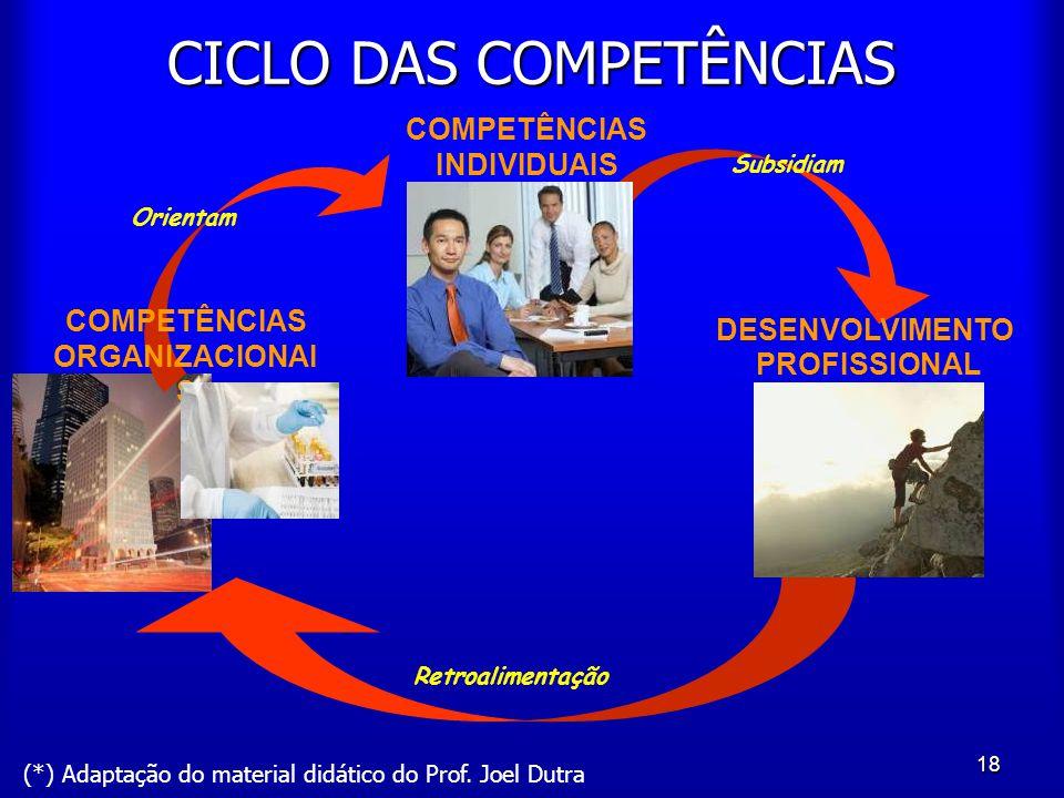 18 CICLO DAS COMPETÊNCIAS COMPETÊNCIAS ORGANIZACIONAI S Orientam Retroalimentação Subsidiam COMPETÊNCIAS INDIVIDUAIS DESENVOLVIMENTO PROFISSIONAL (*)