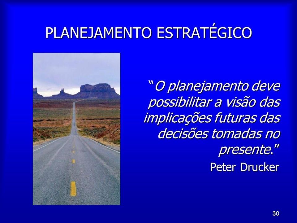 """30 PLANEJAMENTO ESTRATÉGICO """"O planejamento deve possibilitar a visão das implicações futuras das decisões tomadas no presente."""" """"O planejamento deve"""