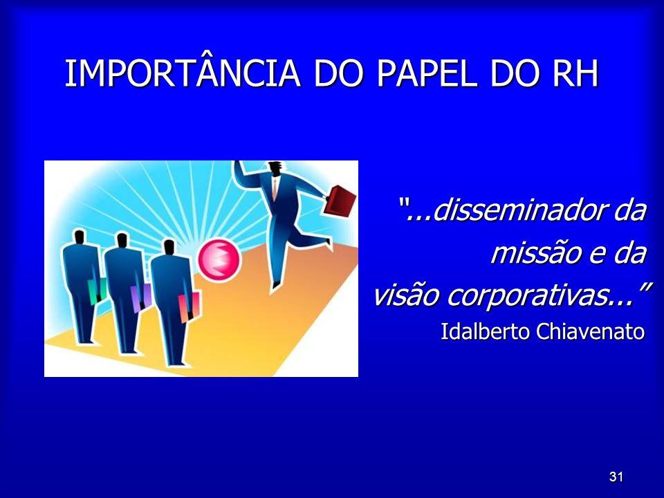 """31 IMPORTÂNCIA DO PAPEL DO RH """"...disseminador da missão e da visão corporativas..."""" Idalberto Chiavenato"""