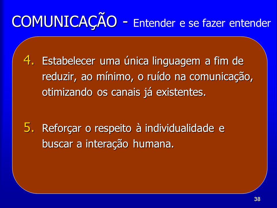 38 COMUNICAÇÃO - COMUNICAÇÃO - Entender e se fazer entender 4. Estabelecer uma única linguagem a fim de reduzir, ao mínimo, o ruído na comunicação, ot