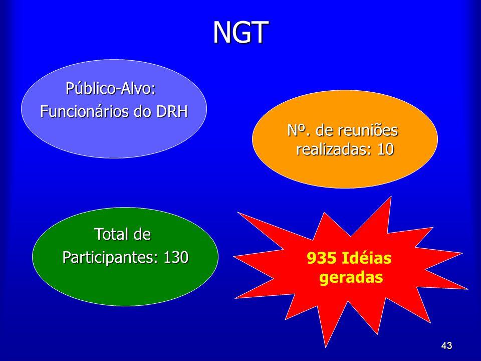 43 NGT Público-Alvo: Funcionários do DRH Nº. de reuniões realizadas: 10 Total de Participantes: 130 935 Idéias geradas