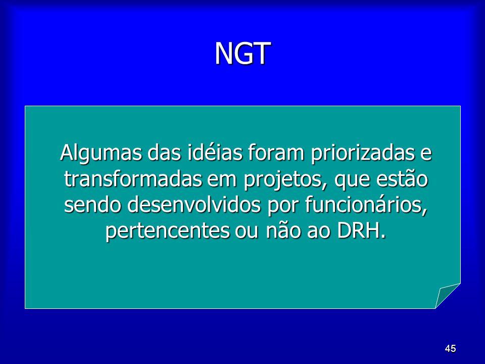 45 NGT Algumas das idéias foram priorizadas e transformadas em projetos, que estão sendo desenvolvidos por funcionários, pertencentes ou não ao DRH.