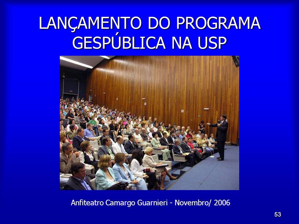 53 LANÇAMENTO DO PROGRAMA GESPÚBLICA NA USP Anfiteatro Camargo Guarnieri - Novembro/ 2006