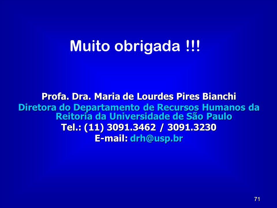 71 Profa. Dra. Maria de Lourdes Pires Bianchi Diretora do Departamento de Recursos Humanos da Reitoria da Universidade de São Paulo Tel.: (11) 3091.34