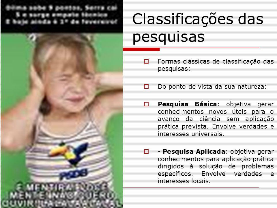 Classificações das pesquisas  Formas clássicas de classificação das pesquisas:  Do ponto de vista da sua natureza:  Pesquisa Básica: objetiva gerar