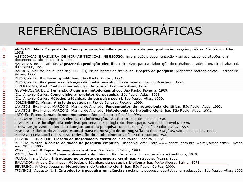 REFERÊNCIAS BIBLIOGRÁFICAS  ANDRADE, Maria Margarida de. Como preparar trabalhos para cursos de pós-graduação: noções práticas. São Paulo: Atlas, 199
