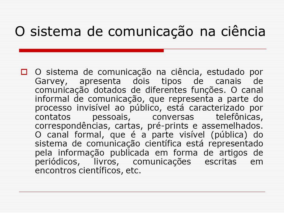 O sistema de comunicação na ciência  O sistema de comunicação na ciência, estudado por Garvey, apresenta dois tipos de canais de comunicação dotados